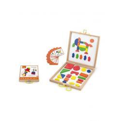 Dřevěný kufřík s magnetickými kostkami pro děti Viga Multicolor