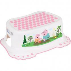 Dětské protiskluzové stupátko do koupelny Prasátko Peppa white-pink Růžová