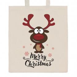Bavlněná nákupní taška přírodní s potiskem New Baby Merry Christmas Přírodní
