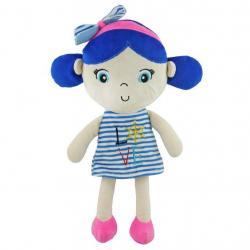 Edukační plyšová panenka Baby Mix námořník holka blue Modrá