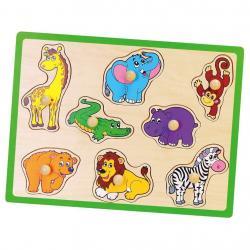 Dětské dřevěné puzzle s úchyty Viga ZOO Multicolor