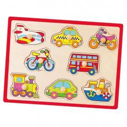 Dětské dřevěné puzzle s úchyty Viga Vozidla Multicolor