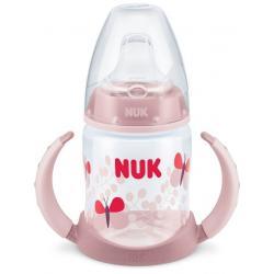 Kojenecká láhev na učení NUK 150 ml světle růžová motýl Růžová
