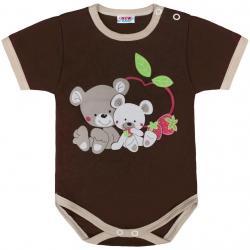 Dětské body s krátkým rukávem New Baby Myšky s jahůdkou hnědé Hnědá velikost - 68 (4-6m)
