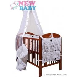 7-dílné ložní povlečení New Baby 90/120 cm  + držák na nebesa Ovečky bílé Bílá velikost - 90/120 cm