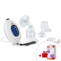 Elektronická odsávačka NUK Nature Sense+nádobka Sense 150 ml+dárek Bílá