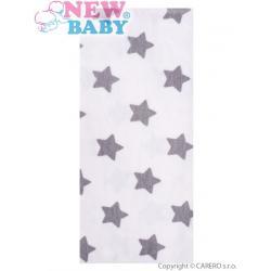 Flanelová plena s potiskem New Baby bílá s šedými hvězdičkami Bílá
