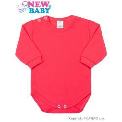 Kojenecké body s dlouhým rukávem New Baby tmavě růžové Růžová velikost - 50
