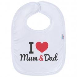 Kojenecký bavlněný bryndák New Baby I love Mum and Dad Bílá velikost - univerzální