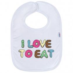 Kojenecký bavlněný bryndák New Baby I LOVE TO EAT Bílá velikost - univerzální