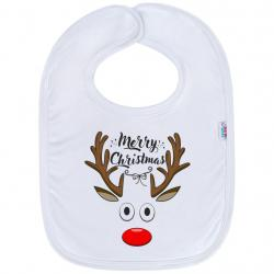 Kojenecký bavlněný bryndák New Baby Merry Christmas Bílá velikost - univerzální