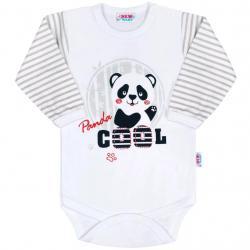 Kojenecké body s dlouhým rukávem New Baby Panda Šedá velikost - 68 (4-6m)