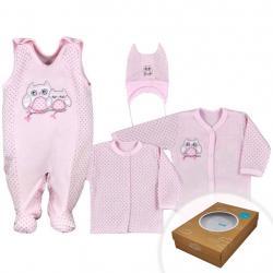 4-dílná kojenecká souprava v Eko krabičce Koala Sovička růžová Růžová velikost - 68 (4-6m)