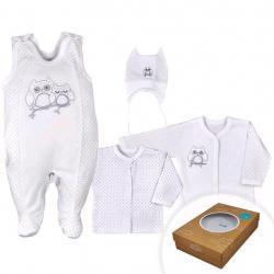 4-dílná kojenecká souprava v Eko krabičce Koala Sovička bílá Bílá velikost - 68 (4-6m)