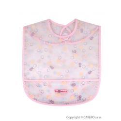 Dětský bryndák s kapsičkou Akuku růžový s bublinkami Růžová velikost - Délka do 32 cm