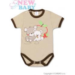 Dětské body s krátkým rukávem New Baby Myšky s jahůdkou Hnědá velikost - 86 (12-18m)