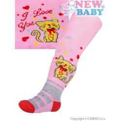 Bavlněné punčocháčky New Baby 3xABS světle růžové s kočičkou Růžová velikost - 68 (4-6m)