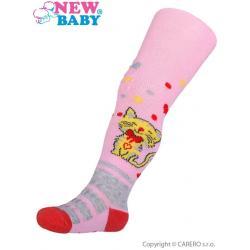 Bavlněné punčocháčky New Baby 3xABS světle růžové s kočičkou Růžová velikost - 104 (3-4r)