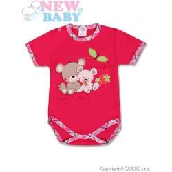 Dětské body s krátkým rukávem New Baby Myšky s jahůdkou Růžová velikost - 74 (6-9m)