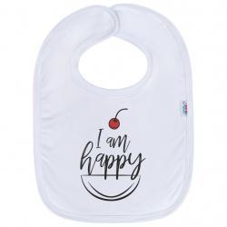 Kojenecký bavlněný bryndák New Baby I am happy Bílá