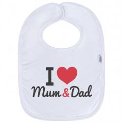 Kojenecký bavlněný bryndák New Baby I love Mum and Dad Bílá