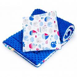 Oboustranný Set z Minky do kočárku New Baby moře modrý Modrá
