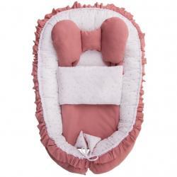 Hnízdečko s peřinkou pro miminko Belisima Angel Baby růžové Růžová