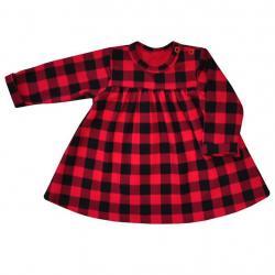 Kojenecké bavlněné šatičky Koala Checkered červeno-černé Červená velikost - 62 (3-6m)