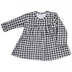 Kojenecké bavlněné šatičky Koala Checkered černo-bílé Bílá velikost - 80 (9-12m)